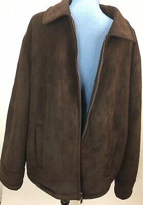 Apt 9 Mens Winter Jacket Microsuede Dark Brown XL NWT Coat Fleece Lined Kohls Lined Microsuede Jacket