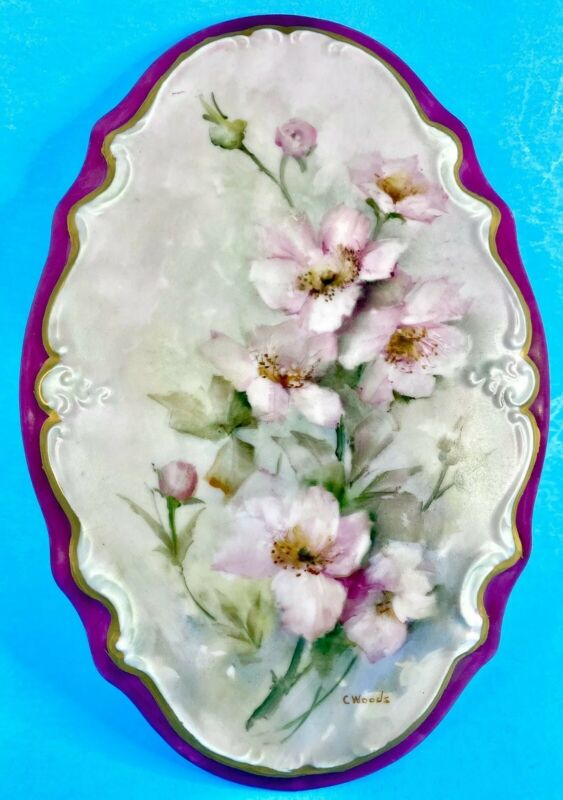"Vintage Handpainted Signed 9"" Porcelain Violets Wall Plaque Hanging Plate"