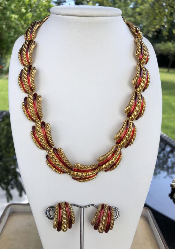 Vintage Gold Tone Red Enamel Necklace Clip On Earring Set