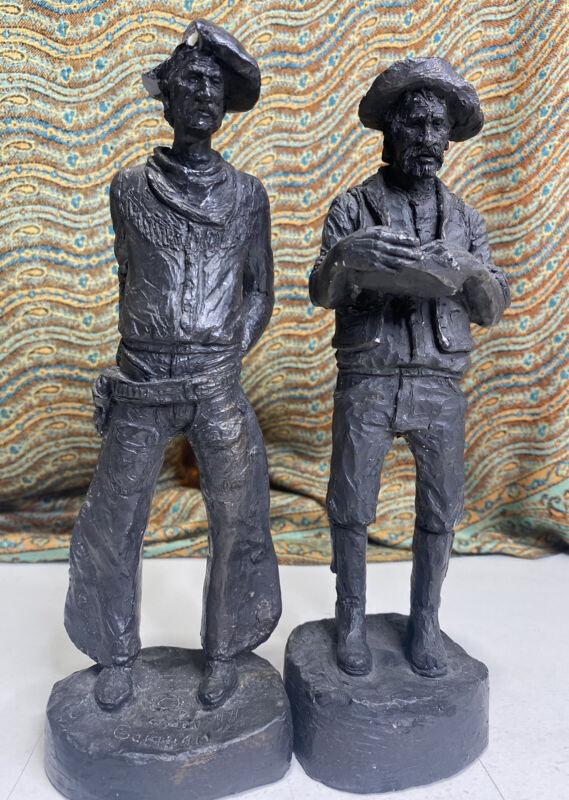 2 Vintage Michael Garman Western Cowboy Sheriff Sculpture Figurine Signed