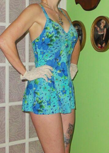 Vintage Blue Floral Swimsuit 8 one piece pinup rockabilly retro swimdress tiki