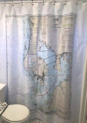 Nautical Chart Map Shower Curtain Tampa Bay Florida NOAA Boating Sailing Beach