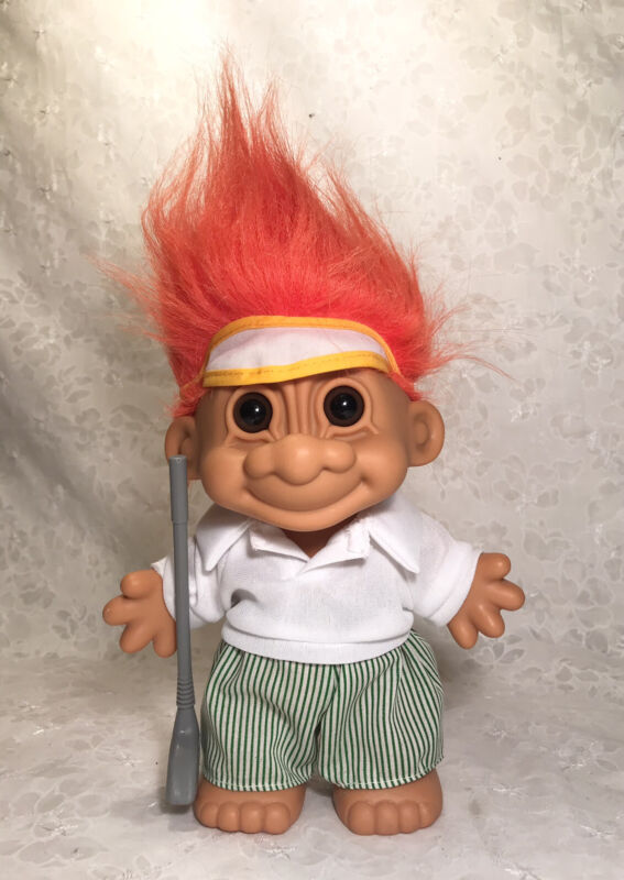 "Vintage 1990s Large  Russ Troll 7"" GOLFER With ORANGE HAIR #18329"