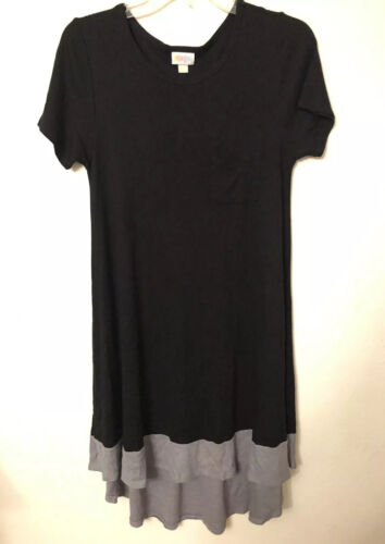 LuLaRoe Carly Dress- Solid Black Gray Dipped, XXS, NWOT, Rayon - $44.00