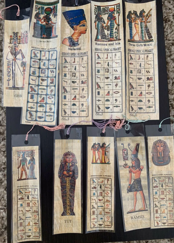 10 Papyrus Bookmarks Ancient Pharohs & Queens