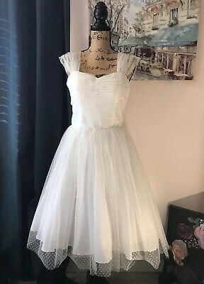 Unique Vintage Wedding Dress M New w Tags White Polka Dot Tulle Pinup Rockabilly Polka Dot Wedding Dress