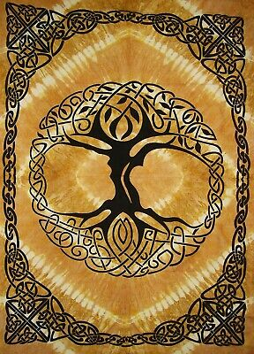 Celtic Tree of Life Tie Dye Tapestry Heavy Cotton Spread 98""
