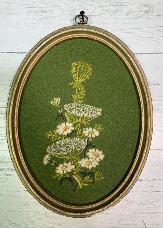 Vintage Crewel Embroidered Framed Flower Needlework Grannycore Wall Hanging