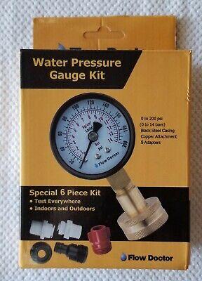 Flow Doctor Water Pressure Gauge Special 6 Piece Kit 5 Adapters 0 To 200 Psi