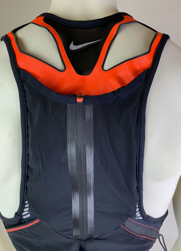Nike Trail Running Kiger Vest Black Orange Hydration Vest Unisex Multi Size