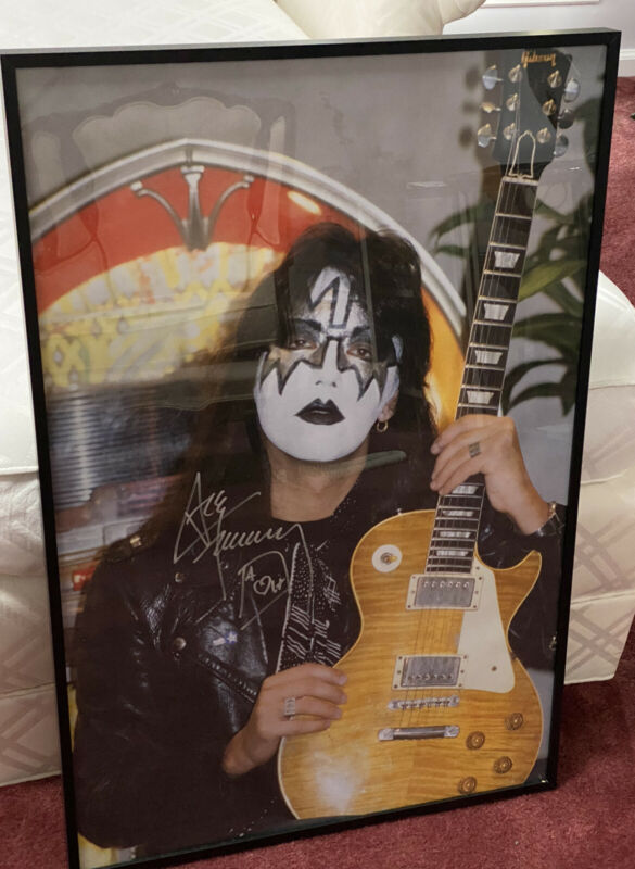 Kiss -Ace Frehley Circa 1978 with 1959 Les Paul signed By Ace. 22x33 Very Big!!