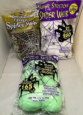 3 bags of stretch spider web - assorted colors green brown white - Halloween - Green Halloween Spider Web