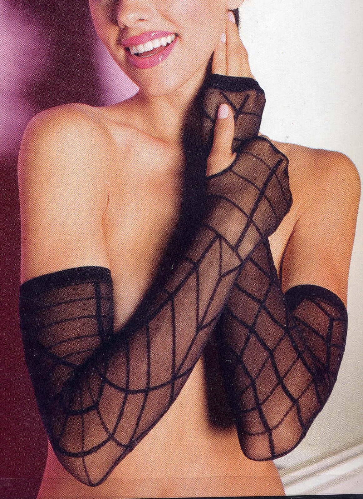 Music Legs 448 Gloves Sheer Nylon Spider Web Fingerless Warmers One Size Black