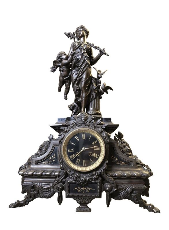 Large Antique French Nouveau Sculptural Mantel Clock Attributed to Moreau