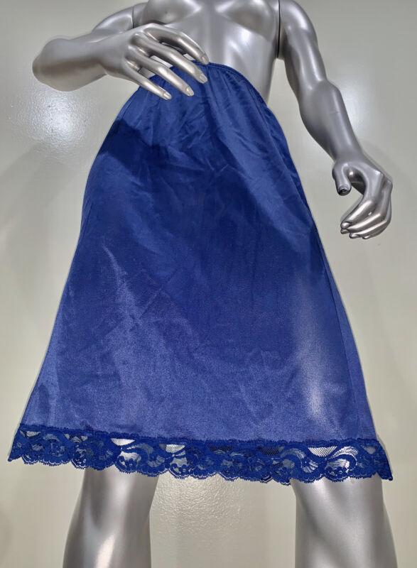 Vtg Vanity Fair Half Slip Nylon Antron 1960s Sissy Second Skin Lace Trim Shiny