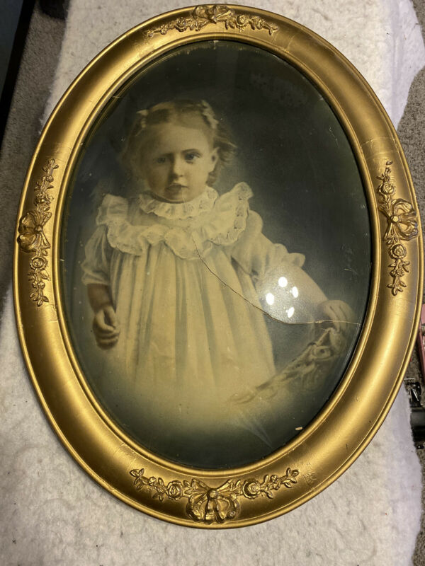 "Antique Convex Bubble Glass Frame 17"" By 23"" W/ Baby Picture"
