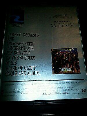Jon Bon Jovi Blaze Of Glory Rare Original Academy Awards Promo Poster Ad Framed