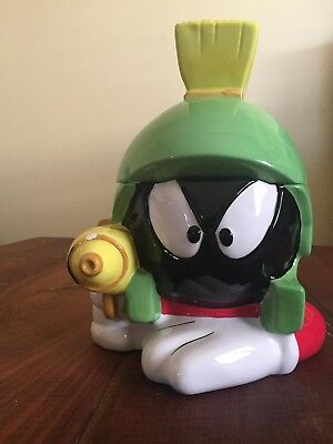 Marvin the Martian Laying Down with a Ray Gun Cookie Jar new w/Box Warner Bros. - Marvin The Martian Ray Gun