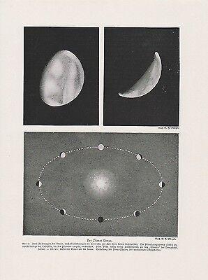 Planet Venus Bahn um die Sonne DRUCK von 1912 Astronomie Astronomy