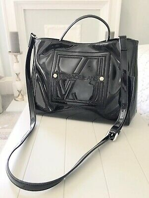 Ladies Versace Jeans Black Patent Tote Grab Handle Handbag Brand New LAST ONE