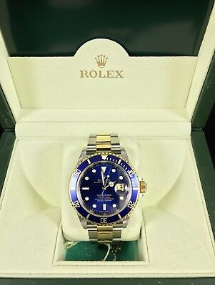 Rolex Submariner Blue Face 18k Yellow Gold And Stainless Steel Box And Papers