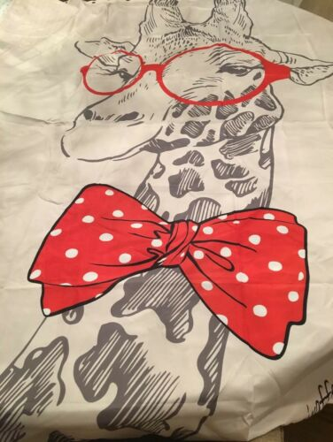 "NYMB Giraffe Bow w/ Glasses 69""x70"" Mildew Resistant Fabric"