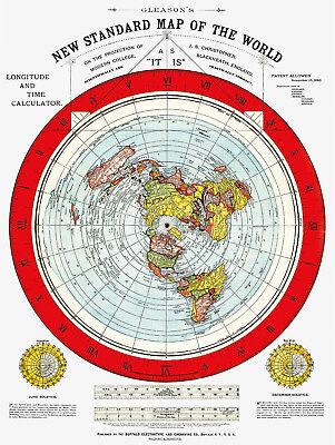 Flat Earth Map   Gleasons New Standard Map Of The World   Medium 18 X 24   1892
