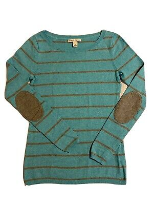 Banana Republic XSmall Blue Gray Striped Sweater Elbow Patches Merano Wool Blend
