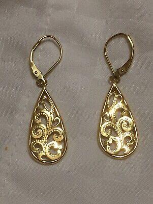 14K Yellow Gold Ladies Drop Dangle Pear Shaped Earrings 1.5 Grams