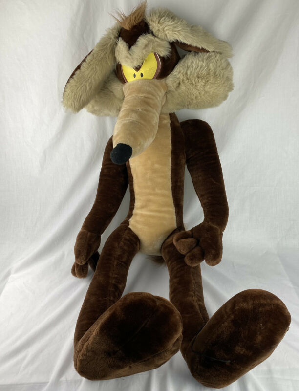 "Vintage 1995 Looney Tunes Wile E Coyote Large 40"" Tall Stuffed Poseable Plush"