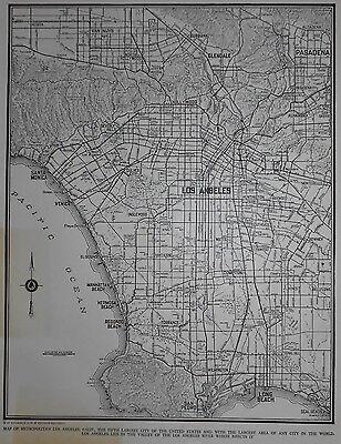 Nice Vintage 1939 World War WWII Era Atlas City Map Los Angeles California CA LA
