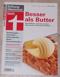 Stiftung Warentest 2013/02, Butter, Staubsauger, Fernseher, Navis, Strom, u.a.