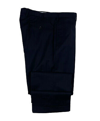 Incotex High Comfort Super 100s Navy Wool Flat Front Trouser Size Men 36x32 Mint