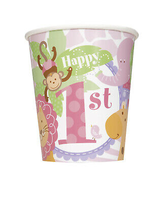 1st Birthday Cups Pink Safari Giraffe Monkey Lion Decoration Favor Supplies](Pink Cups)