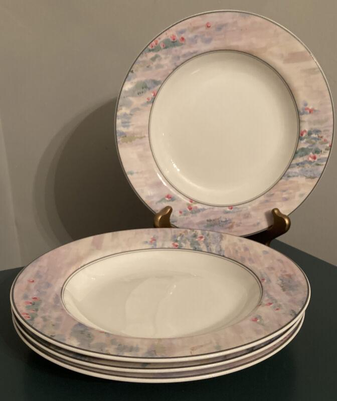 "Set Of (4) MIKASA  MONET 9"" RimmedSoup/Pasta  Bowls MAXIMA Cak01"