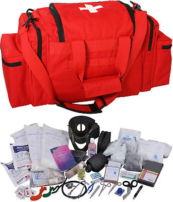Red 200 Pcs Emergency Medical Trauma Kit Carry Bag First Aid Supplies Emt Ems