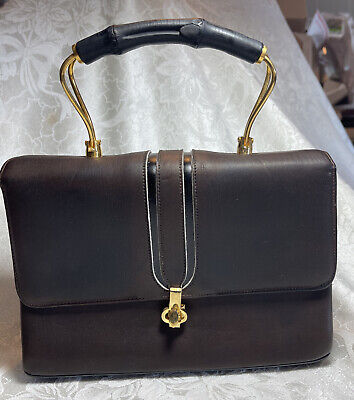 1950s Handbags, Purses, and Evening Bag Styles 1950's VINTAGE BROW LEATHER UNIQUE TOP HANDLE STRUCTURED BAG RETRO GOLD HARDWARE $39.99 AT vintagedancer.com