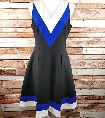 H&M Size 10-12  Color Block Pleated Fit & Flare Lined Sleeveless  Dress Pockets
