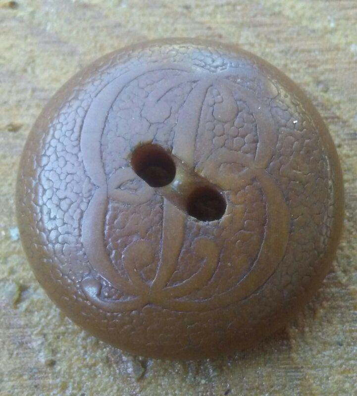 Rare Vintage B Monogram Vegetable Ivory Button.