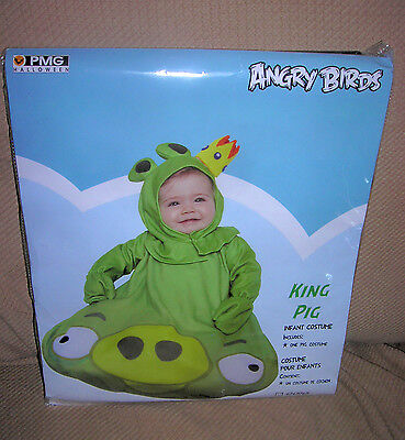 Angry Birds  king pig infant  halloween costume or dress up   9 months     NEW - Angry Birds Green Pig Halloween Costume
