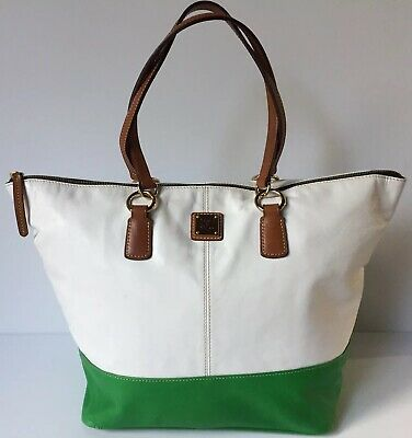 Dooney & Bourke Large Leather Green White Zippered Tote Shopper Weekender Bag