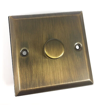 ANTIQUE BRASS SINGLE FLAT PLATE GOLD COLOR METAL ROTARY LIGHT DIMMER SWITCH
