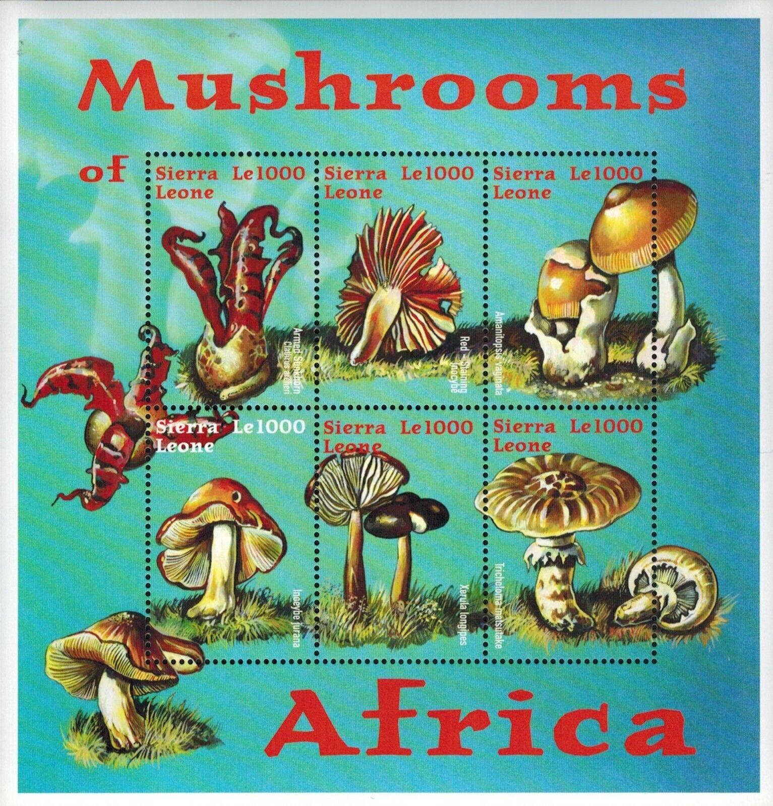 MODERN GEMS - Sierra Leone - Mushrooms Of Africa - Sheet Of 6 - MNH - $0.89