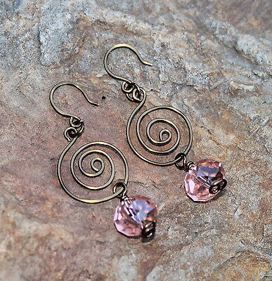 Handmade Pure Copper Wire Swirl Earrings Pretty Pink Czech Crystal Dangle Drop on Rummage