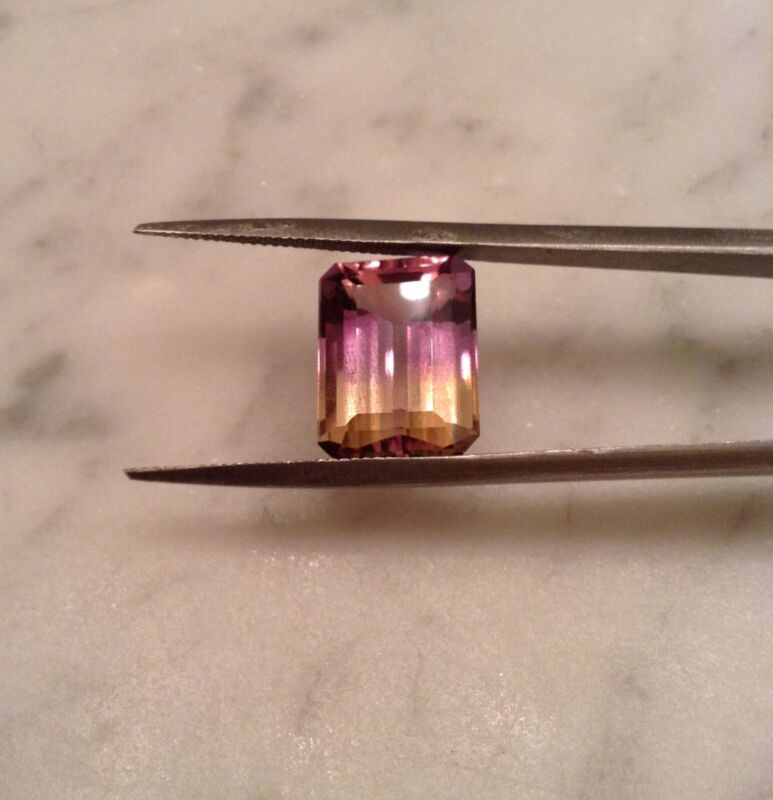Beautiful Transparent Bi-color Ametrine Gemstone,14.5X10mm,8.10cts,Emerald Cut