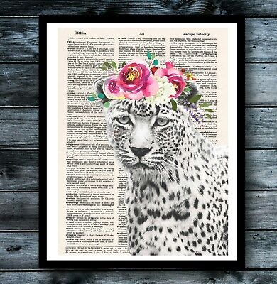 (Shabby Chic Vintage Dictionary Art Poster Leopard Flower Crown Animal Love Decor)