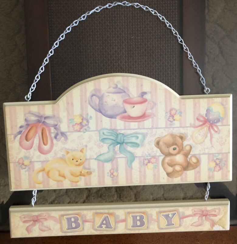 Vintage Baby Nursery Wall Plaque Animal Theme