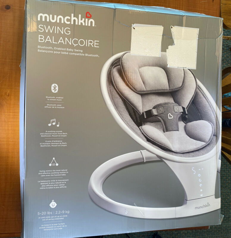 Munchkin Swing Balancoire Bluetooth Enabled Lightweight Baby Swing, Natural Sway