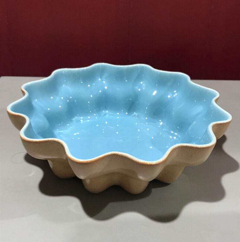 Vintage Catalina Pottery Saguaro bowl / planter, Coral & Aqua