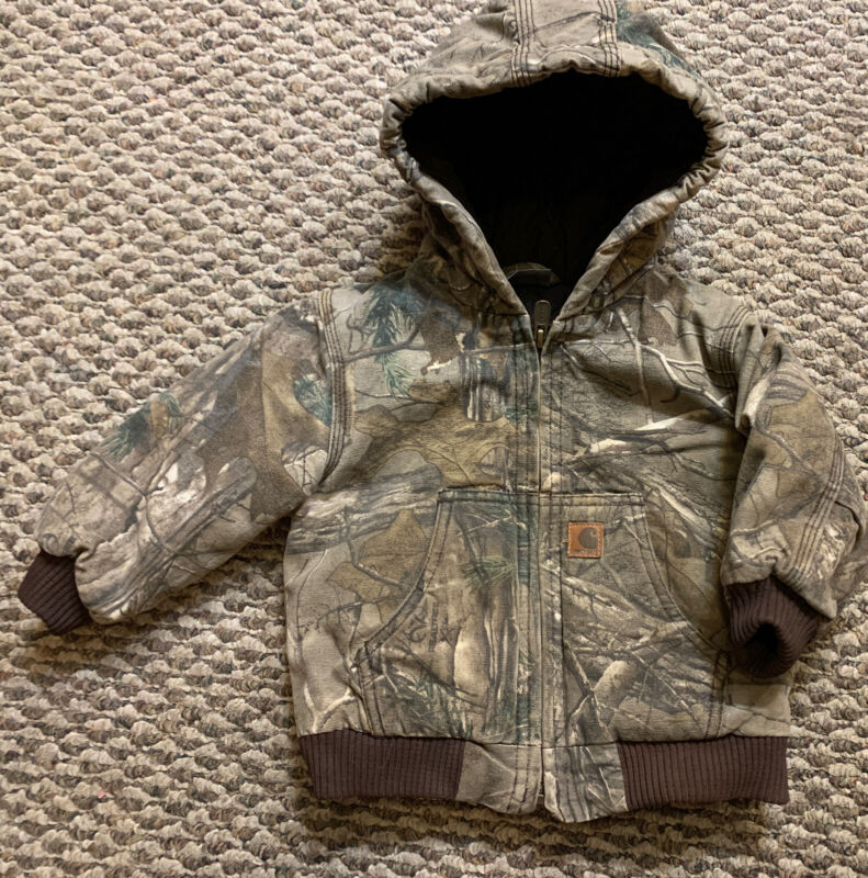 Carhartt Baby Toddler Boys Camouflage Full Zip Jacket Coat with Hood 18 Months